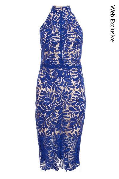 Royal Blue Crochet Halter Neck Midi Dress